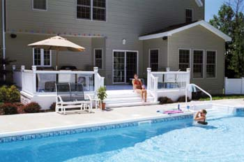 Vinyl and Glass railing or rails for decks, patios, staircases from ...